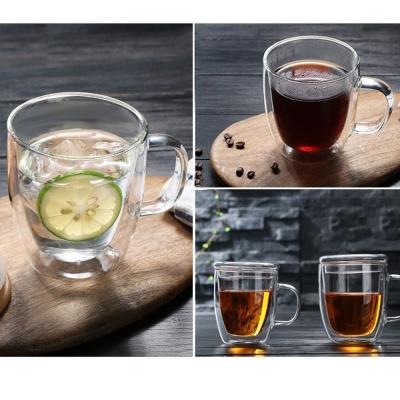 강화유리머그컵 이중유리머그컵 뚜겅머그컵 375ml