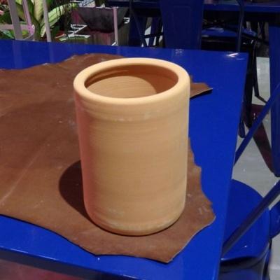 황토빛 황원통(중) 14x19cm 토분(갈색화분)