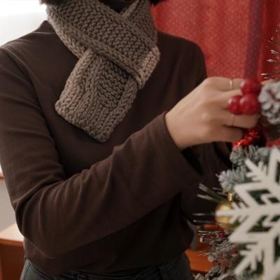 아이코드 배색 미니 목도리 - 대바늘 뜨개질 키트
