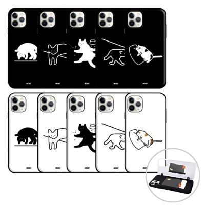 아이폰12 미니 pro max 고양이 오픈 카드 하드 케이스