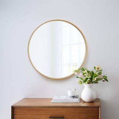우드로하우스 북유럽풍 원목원형거울 53cm원형거울