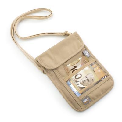 [헤이즈]해킹방지-목걸이형지갑 베이지
