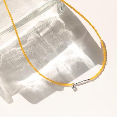 바이데이지 SN035 옐로우 마노 원석 초커 목걸이