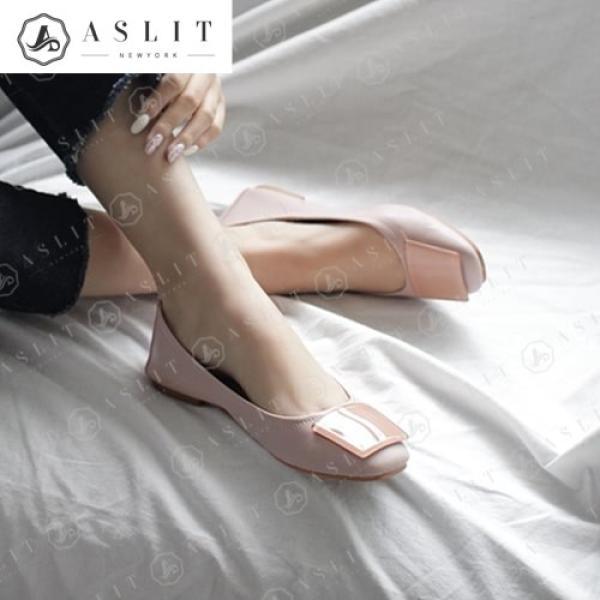 [애슬릿]둥근 스퀘어 여성 사각장식 플랫 슈즈 1.5cm