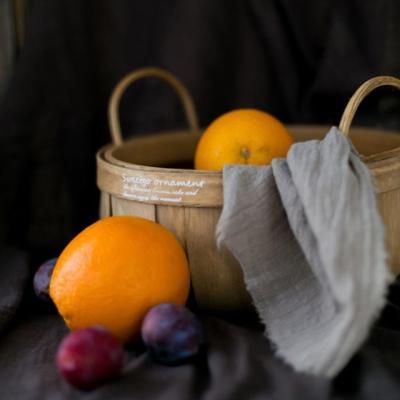 손잡이 대나무 과일 피크닉 바구니 (대형)