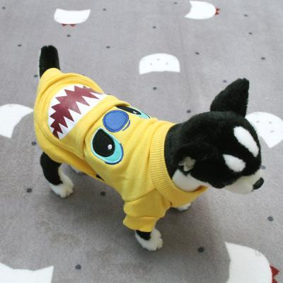 [펫딘]샤크 포켓 시보리 옐로우 강아지옷 티셔츠