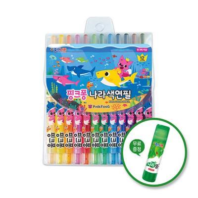 종이나라 핑크퐁 상어가족 나라색연필 12색
