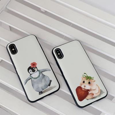 아이폰8 수채화동물 카드케이스