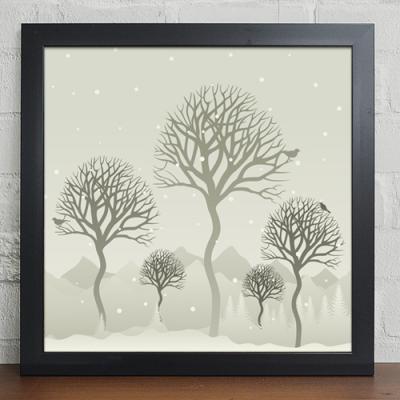 cw111-눈오는날의나무풍경_인테리어액자
