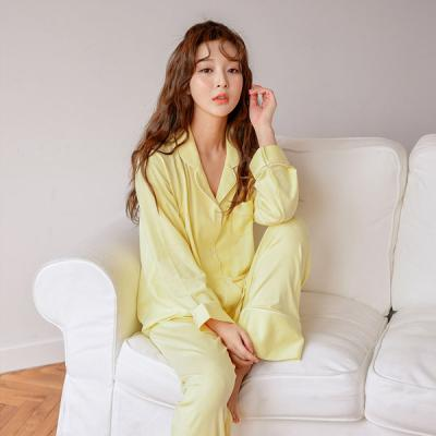 [쿠비카]레몬 투피스 카라넥 스판 여성잠옷 W457