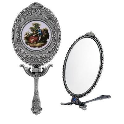 공주 손거울 엔틱 타원형 손잡이 거울 대형 접이식
