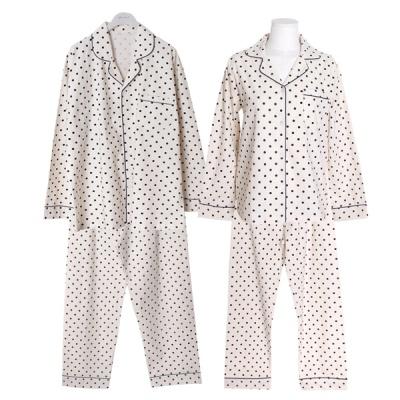 [쿠비카]라운드 도트 카라넥 투피스 커플잠옷 WM296