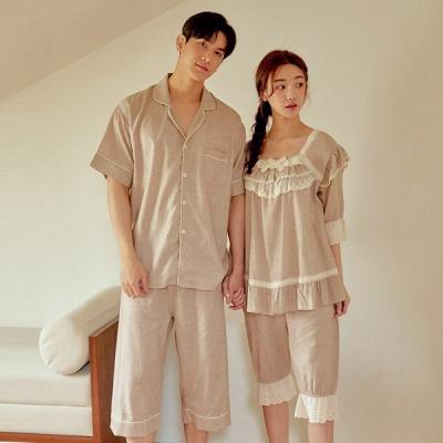 [쿠비카]레이스 숄더 프릴 5부 투피스 커플잠옷 WM332