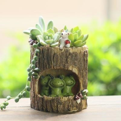 ROOGO 루고화분 나무속 휴식 개구리