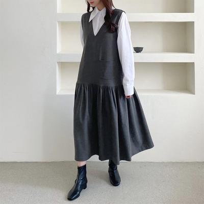 Pocket Vest Frill Long Dress