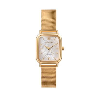 20대 여자 자개 디자인 메쉬 금장 시계 하버 골드