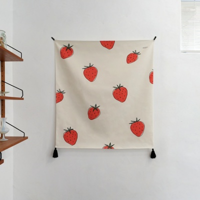 딸기 일러스트 패브릭 포스터 / 가리개 커튼