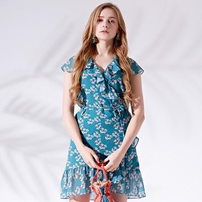 플로럴 랩드레스 Floral wrap dress
