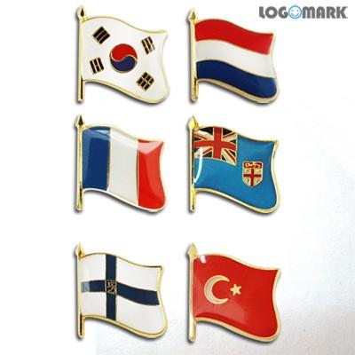 세계각국의 휘날리는 국기뱃지(태극기 네덜란드 프랑스 피지 핀란드 터키)