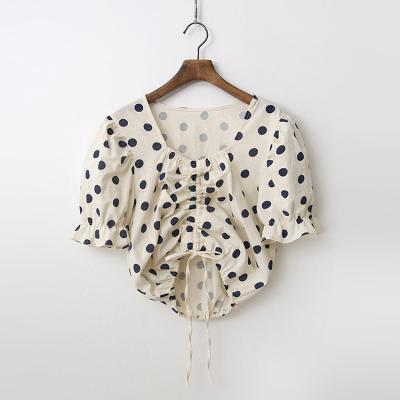 Linen Cotton Dot Crop Blouse