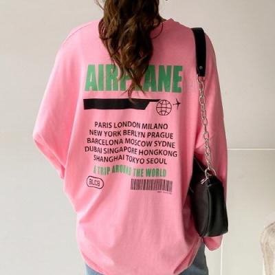 에어플레인 티셔츠 포인트 루즈핏 심플 여성 바캉스