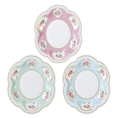 [TT] 꽃 무늬 종이 접시 - 작은장미 12개