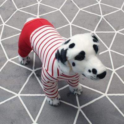 [펫딘]스프라이프 배색 강아지옷 올인원 레드