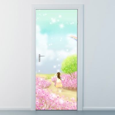 nces257-핑크빛꽃길-현관문시트지