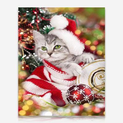 크리스마스 고양이 DIY 보석십자수 십자수 비즈세트