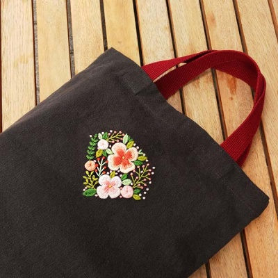 프랑스자수 패키지 DIY 꽃다이아몬드 에코백 차콜