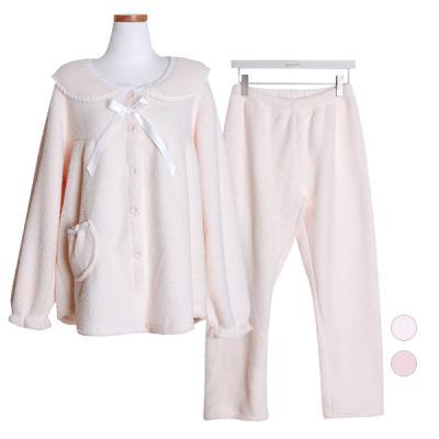 [쿠비카]스위티 인조양털 라운드 투피스 여성잠옷W411