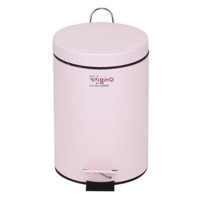 데코 페달 무소음 휴지통 용량5리터 핑크컬러