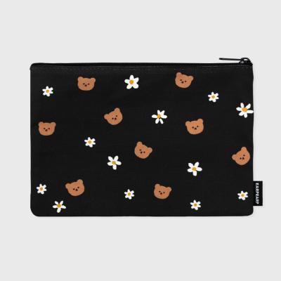 Dot flower bear-black(파우치)(L)