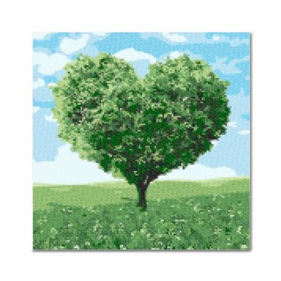 DIY 보석십자수 - 푸른하트나무 BE19 (25x25)