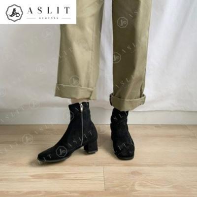[애슬릿]스퀘어 청키 힐 스판 앵클 부츠 4.5cm