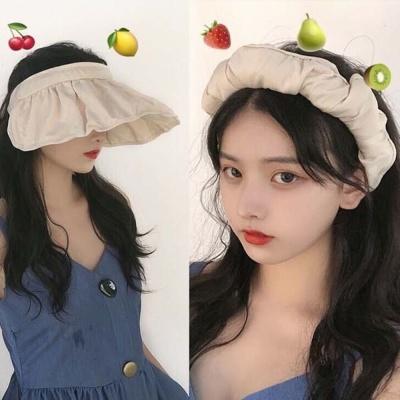 여성 여름 휴가 패션 머리띠 썬캡 챙모자 선택 베이지