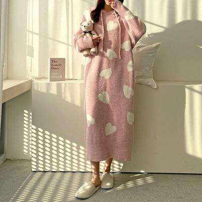Very Soft Home Heart Hood Long Dress- 극세사