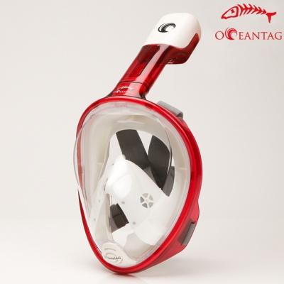 오션테그 스노쿨링 풀페이스마스크 T.레드+가방,필름