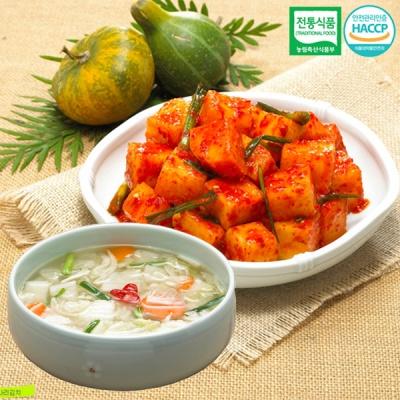 [명가김치] 전통식품인증 깍두기 3kg+나박물김치 1kg