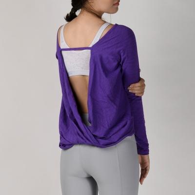 모달 슬러브 드레이프 커버 티셔츠 DFW5012 보라