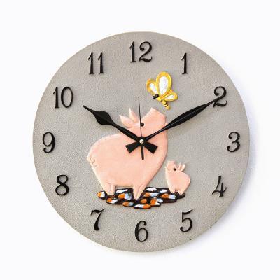 (kkkd021)저소음 400 돼지 시계 (그레이)