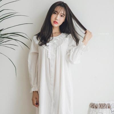 [쿠비카]꼬임 도비면 프릴 원피스 여성잠옷 W237