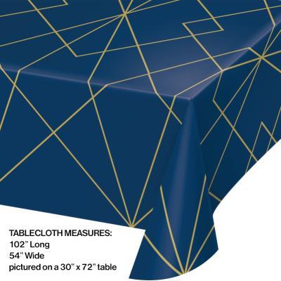 [빛나파티]네이비 골드무늬 파티용 비닐 테이블커버