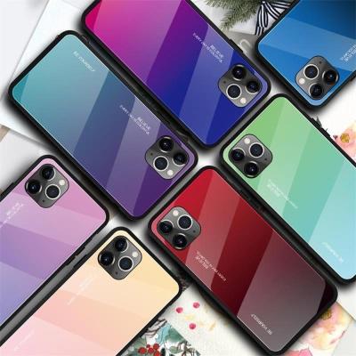 아이폰11 프로 맥스 그라데이션 강화유리 하드 케이스
