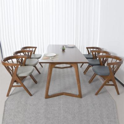 N4128 6인 원목 식탁 세트(의자형) 2colors