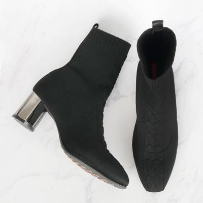 [쥬아나윤]Knit Span Boots 삭스 앵클 부츠