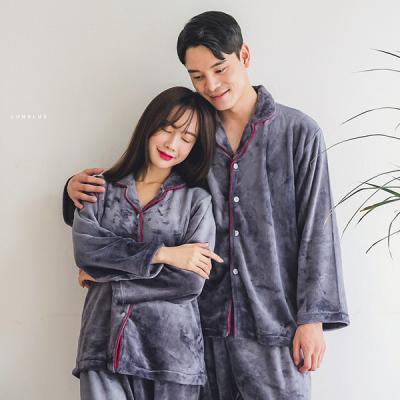 [쿠비카]버건디 파이핑 밍크 투피스 커플잠옷 WM135