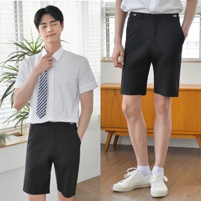 [허리조절] 스판 블랙 교복 반바지(남자)