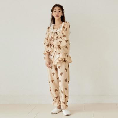 [쿠비카]우드버튼 이중거즈면 투피스 여성잠옷 W818