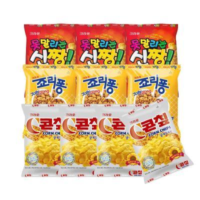 크라운  콘칩44gx4+신짱73gx3+죠리퐁50gx3 (총10개)